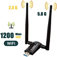 1200Mbps Wireless USB WiFi Adapter, QGOO WiFi Adapter,AC1200 Dual Band 802.11 ac/a/b/g/n,2.4GHz/300Mbps 5GHz/867Mbps High Gain Dual 2 X 5dBi Antennas Network USB 3.0 for Desktop of Windows