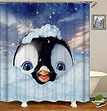 MNIAHGFQW DuschvorhangNetter lustiger Cartoon-Duschvorhang, Pinguin, Katze, Panda Wasserdichter Badezimmer-Duschvorhang Polyester-Stoff-Badewannenschirm 180 * 180