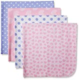 Gerber Baby Girls 4 Pack Flannel Receiving Blanket, Leopard, 30x30
