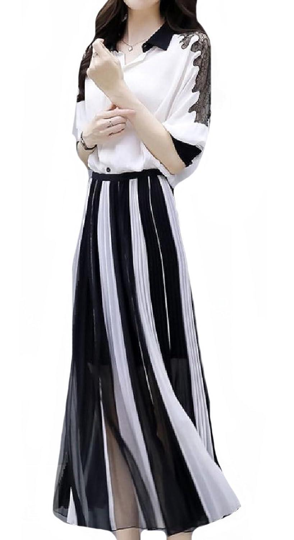 VITryst 女性のハイストリートのシフォンのボタンダウンシャツスイングスカートセット