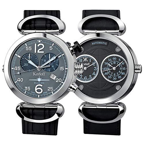 Korloff Orologio da uomo analogico automatico al quarzo reversibile, cronografo automatico Saint Louis AVQ/A