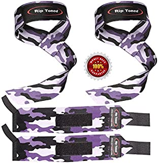 Rip Toned Lifting Straps + Wrist Wraps Bundle (1 Pair of Each) Bonus Ebook for Weightlifting, Xfit, Workout, Gym, Powerlifting, Bodybuilding - Lifetime Replacement Warranty!