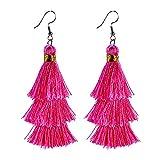 AD Beads Fashion Charm Crystal Silk Tassel 3 Layers Fan Fringe Dangle Earrings (25 Rose Red)
