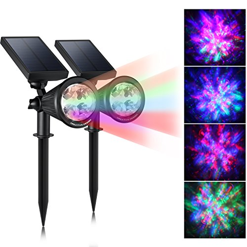 CREATIVE DESIGN Solar Lights Outdoor Colored Solar Spotlight Outdoor, Wall Lights Solar Christmas Lights with Auto On/Off for Garden, Christmas, Holiday Decoration(2 Pack)