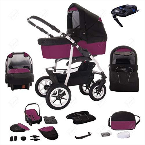 Bebebi Bellami | ISOFIX Basis & Autositz | 4 in 1 Kombi Kinderwagen | Hartgummireifen | Farbe: Bellaviola
