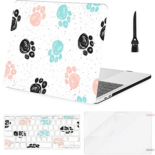 MacBook Pro Case Doodle Dog Paw Seamless Background Black MacBook Pro 15'(NO CD-ROM,2016-2018 Ver) A1707/A1990 Plastic Case Keyboard Cover & Screen Protector & Keyboard Cleaning Brush