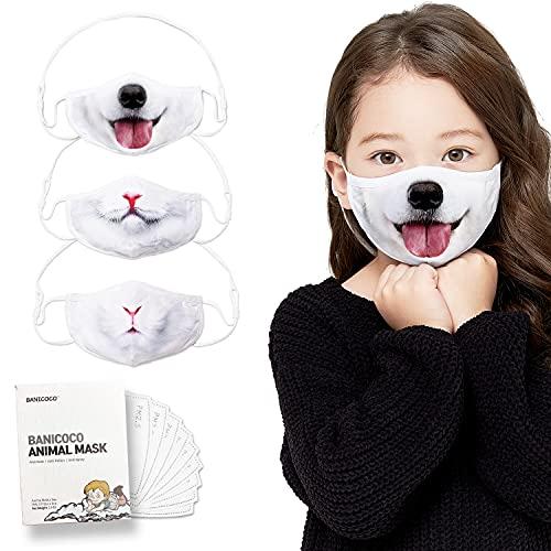 Funny Kids Face Mask - Adjustable Necklace & Filter pocket - Washable, Reusable - Puppy, Cat, Rabbit print