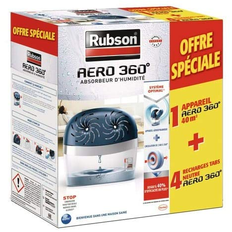 Rubson Aéro 360 - Absorbente de humedad (40 m2 + 4 recambios)