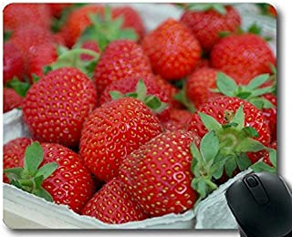 Mouse Pad Funny Customized,Strawberries in Bowl Summer Fruit Breakfast Cream Soft Mouse Pads