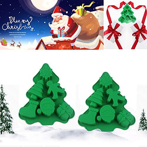 2 pièces combinaison de cuisson en silicone d'arbre de Noël, moule de cuisson au chocolat pour gâteau, moule à gâteau d'humeur festive, moule à cire de gelée de plateau de glaçons (B)