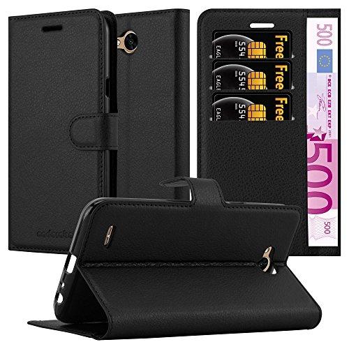 Cadorabo Hülle für LG X Power 2 - Hülle in Phantom SCHWARZ – Handyhülle mit Kartenfach & Standfunktion - Hülle Cover Schutzhülle Etui Tasche Book Klapp Style