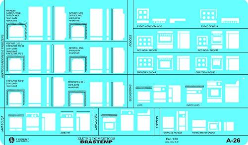 Gabarito Linha Nacional de Eletrodomésticos, A-26, Trident, Acrílico Azulado 26 x 15 cm
