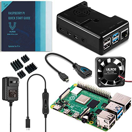 Vilros Raspberry Pi 4 Basic Kit mit schwarzem Gehäuse mit Lüfterkühlung 8GB