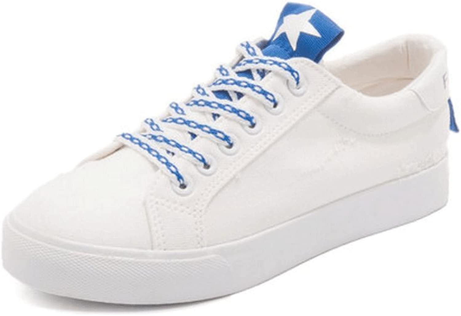 Ladies breathable canvas shoes outdoor casual shoes fashion flat shoes (3 colors optional) ( color   bluee , Size   38 )