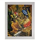 VVSUN Cool Jazz Musician Music Giants Lienzo de Seda Pintura Arte de la Pared Póster Imagen Impresa Moderna para la Sala de Estar Bar Decoración del hogar, 50x70cm (Sin Marco)