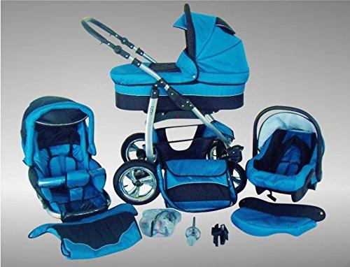Chilly Kids Dino Kinderwagen Sommer-Set (Sonnenschirm, Autositz & Adapter, Regenschutz, Moskitonetz, Getränkehalter, Schwenkräder) 11 Blau & Schwarz
