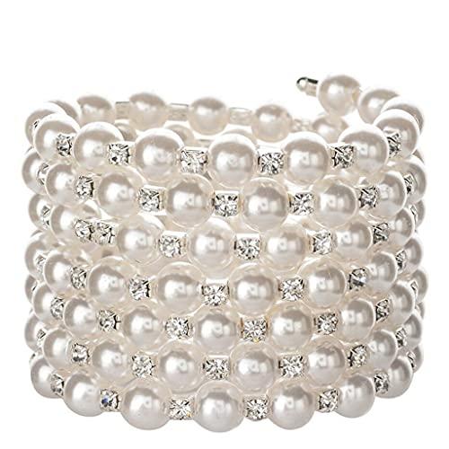 XIANZI Pulseras de la amistad, pulseras para parejas, pulseras anchas de perlas y pulseras para mujeres, brillantes, pulsera ajustable, joya de boda
