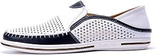 Chaussures Décontractées pour Hommes D'été Creuser en Cuir Respirant Glisser sur des Baskets De Couleur Mixte Conduire Moc...