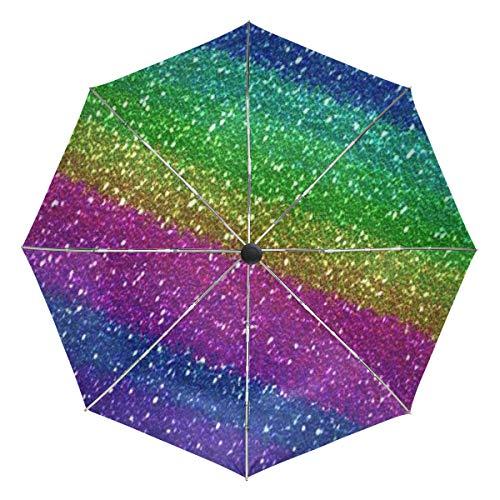Wamika Regenbogen-Glitzer-Automatischer Regenschirm, bunt, Galaxy, winddicht, wasserdicht, UV-Schutz, Reise-Regenschirm – 3 Falten, automatisches Öffnen/Schließen, für Sonne und Regen