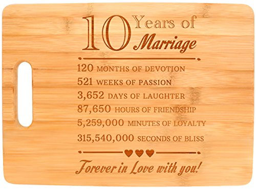 10th Anniversary Gift 10 Years of Marriage Forever In Love Big Rectangle Bamboo Cutting Board