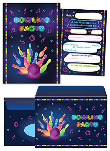 6 Einladungskarten incl. 6 Umschläge zum Kindergeburtstag Bowling für Mädchen und Jungen / Erwachsene / Bunte Einladungen zum Geburtstag / Geburtstagseinladungen