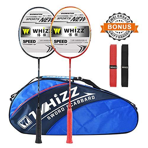 Whizz Kratzfestes Design Badminton Schläger Racket Set mit Tasche Griffband, 100% Graphit