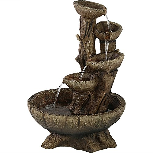 Sunnydaze Country 2-Tier Wood Barrel Water Fountain with Hand Pump, Outdoor Patio and Garden Waterfall Feature, 23-Inch