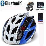 Casco de Bicicleta Inteligente con Altavoz Bluetooth, Luces traseras de Control Remoto inalámbrico/Equipo Walkie-Talkie/Música/Alerta SOS/Llamada Equipo de Ciclismo antichoque