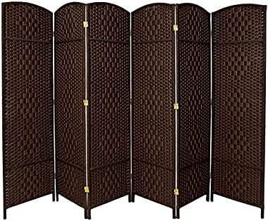 """RHF 6 ft. Tall- 19"""" X Wide-Diamond Weave Fiber Room Divider,Double Hinged,6 Panel Room Divider/Screen, Room Dividers and Fold"""