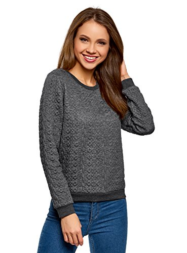 oodji Collection Damen Sweatshirt aus Strukturiertem Stoff, Grau, DE 38 / EU 40 / M