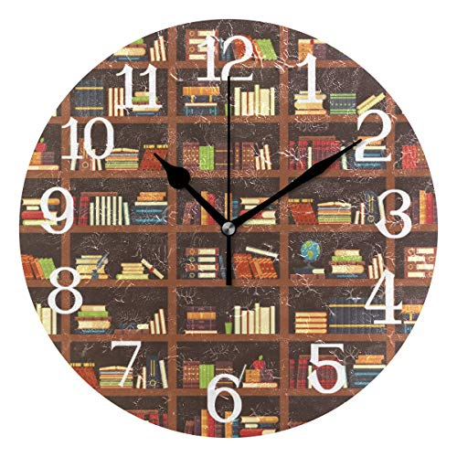 Wall Clocks Old Library Bookshelf Best Silent Non Ticking Digital Wall Clock Battery Operated Round Clocks for Kids Kitchen Bathroom Living Room Decorative School Home Bedroom Office