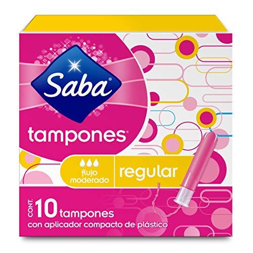 Saba Saba Tampón Con Aplicador Compacto; Absorción Regular/ Flujo Moderado; 10 Piezas, color, 10 count, pack of/paquete de