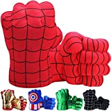 Toydaze Incredible Smash Fists Punching Gloves Plush Hands Stuffed Pillow Handwear, Kids Cosplay Costumes Gloves, Superhero Toys for Boys, Toddlers, Birthday, Halloween, Christmas Xmas Gifts, Red