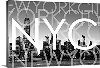 CanvasOnDemand 2441491_24_48x32_None Circle Capture Premium Thick-Wrap Canvas Entitled New York City, Multi-Exposure Typography Wall Art Print 48