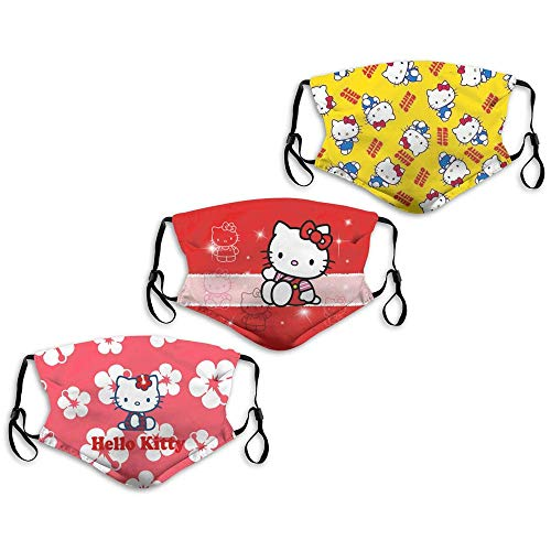 Face Mask Yellow Hello Kitty Cartoon Cute Characters Rose Dis-ney 3PC with 6 Filters Reusable Washable Adjustable Masks Men Women Made in USA
