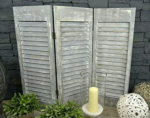 Livitat® Paravent Fensterladen H81 x B92 cm 3 flügelig Holz Shabby Chic Landhaus Deko LV1069 (Grau)