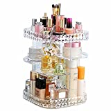 Makeup Organizer 360-Degree Rotating Cosmetic Storage Box, DIY Adjustable Large Capacity Cosmetics Display Case Square Makeup Shelf with Diamond Pattern