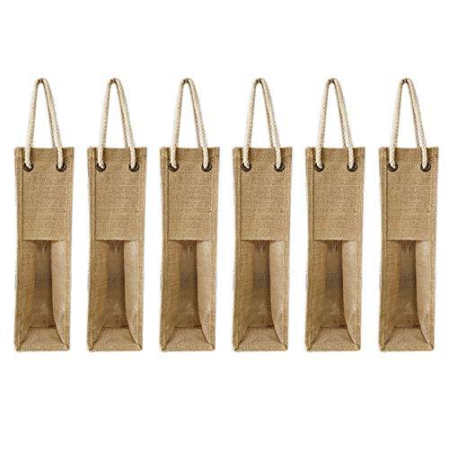 Uniquk Paquete de 6 Bolsas de Vino de Arpillera Bolsas de Regalo de Vino con Cuerdas, Bolsas de Embalaje de Botella de Vino Reutilizables Individuales de 4X15 Pulgadas