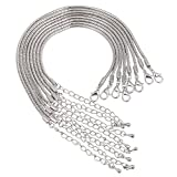 RUBYCA European Charm Bracelet Silver Color Snake Chain Lobster Clasp Jewelry Making 7.9 Inch 5pcs