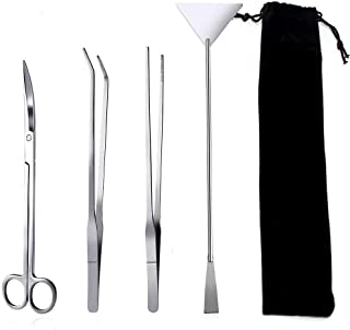 Signstek 4 in 1 Stainless Steel Aquarium Tank Aquatic Plant Tweezers Scissor Spatula Tool Set Aquariums & Fish Starter Kit