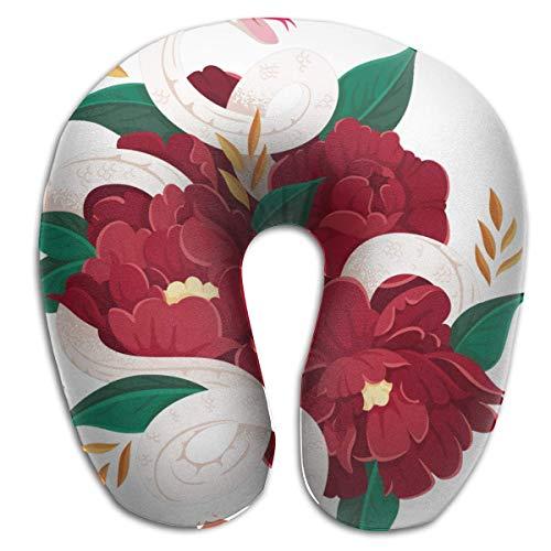 AOOEDM Flores Rojas, Hojas Verdes y Dos Serpientes Blancas, 4 Adultos, Estudiantes,...