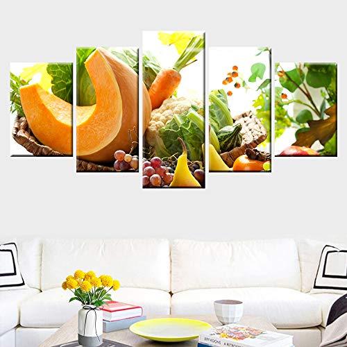 FXDGDFYDFHBFGHGHKHTDRGTRD 5 Cuadros de Alimentos con Frutas y Verduras Frescas, murales, decoración de la Cocina, Carteles nórdicos, Cocina, Comedor, murales, lienzos 40x60 40x80 40x100cm