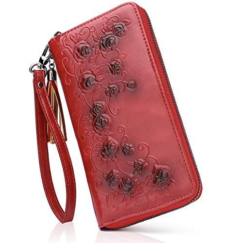 Aphison - Cartera de piel genuina con cremallera larga para mujer, con grabado en relieve, estuche de regalo rojo S