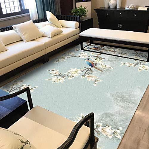 nobrand Diseño Moderna Alfombra salón Alfombra Flores y pájaros Azules claros Frescos del Estilo chino-100 * 160CM,para Sala, comedór Dormitorio alfombras, fácil de Limpiar