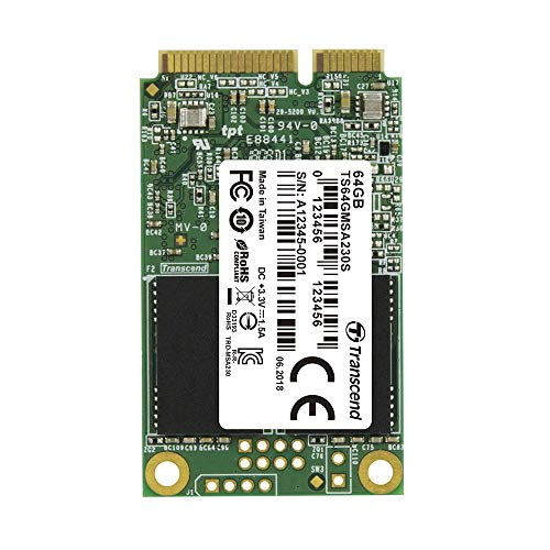 Transcend Highspeed 64GB interne mSATA SSD SATA III (6Gb/s), zum Aufrüsten von Ultrabooks, Tablets oder Slim Servern, schnelle Übertragung TS64GMSA230S