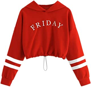 Fmestery Teen Kids Girls Sweatshirts Letter Stripe Print Hooded Pullover Cute T-shirt Blouse Tops Clothes 2-12T