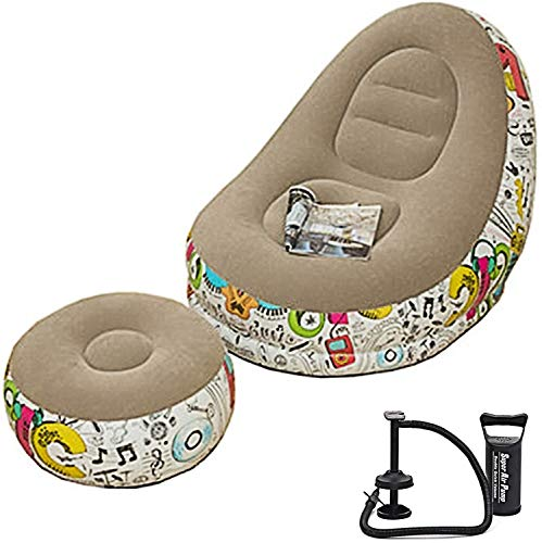 BUSUANZI Bohnenbeutel Stuhl Flocking gedruckt tragbarer Sofa Stuhl Garten Outdoor Strand aufblasbarer Sofa Stuhl,Braun