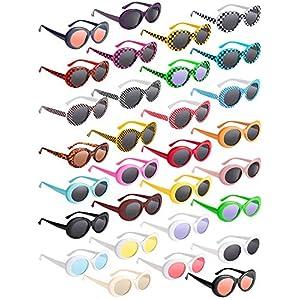 30 Pairs Retro Clout Oval Goggles 30 Colors Retro Kurt Mod Sunglasses Thick Frame Sunglasses Round Lens