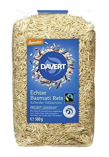 Davert - demeter Echter Basmati Reis Vollkornreis Fairtrade - 500 g - 8er Pack