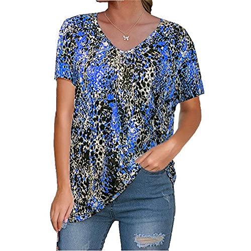 Mayntop Camiseta sin mangas para mujer, de verano, con estampado de leopardo, sin mangas/manga corta, talla grande